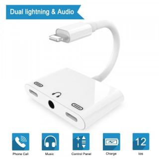 Adaptor Lightning la Jack Audio 3,5mm si 2 porturi Lightning Alb