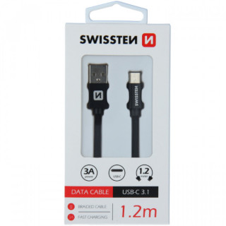Cablu Date Si Incarcare USB Type C Textil 1,2 m Samsung Huawei LG Asus Allview Negru