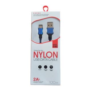 Cablu Date Si Incarcare USB Type C Universal textil Albastru