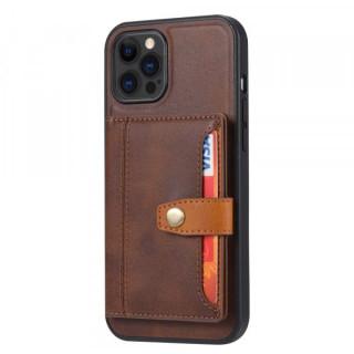 Carcasa telefon iPhone 12 / 12 Pro TPU cu suport pentru carduri din piele ecologica Maro
