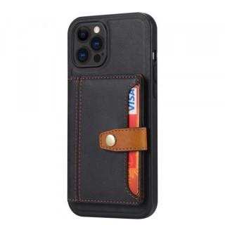 Carcasa telefon iPhone 12 / 12 Pro TPU cu suport pentru carduri din piele ecologica Neagra