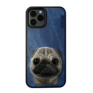 Carcasa telefon NIMMY iPhone 12 / 12 Pro TPU din textil Albastru Inchis