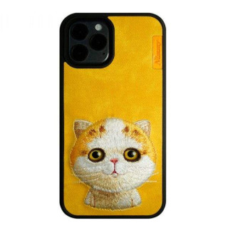 Carcasa telefon NIMMY iPhone 12 / 12 Pro TPU din textil Galbena