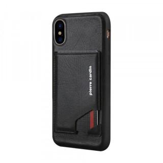 Carcasa telefon Pierre Cardin iPhone X / XS TPU cu suport pentru carduri din piele naturala Neagra