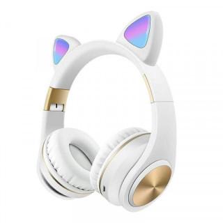 Casti wireless pliabile, Urechi de pisica, Bluetooth 5,0, LED, TF, AUX, Albe
