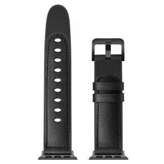 Curea Apple Watch Series 6 SE 5 4 44mm / Series 3 2 1 42mm Piele Ecologica Neagra