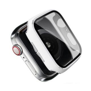 Folie Protectie Sticla Apple Watch Series 6 / SE / 5 / 4 44mm Acoperire Completa Alba
