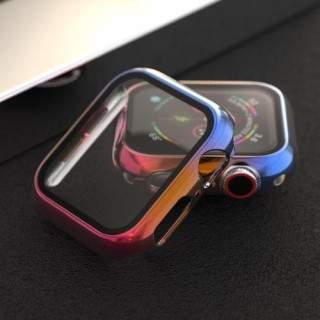 Folie Protectie Sticla Apple Watch Series 6 / SE / 5 / 4 44mm Acoperire Completa Cu Margine Colorata