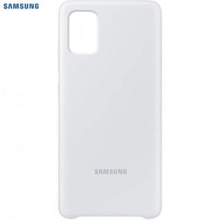 Husa de protectie Samsung Silicone Cover pentru Galaxy A51, silicon, White