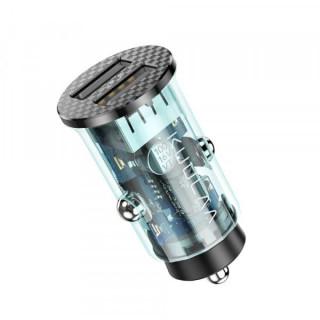 Incarcator Auto 5V 3.4A Dual USB Albastru