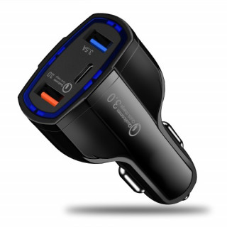 Incarcator Auto Samsung Galaxy S9 Dual USB Si USB Tip C Negru