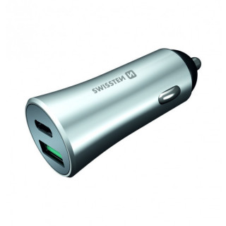 Incarcator Auto Swissten Power Delivery Cu USB-C Si USB Quick Charge 3,0 36W, Argintiu Metalic