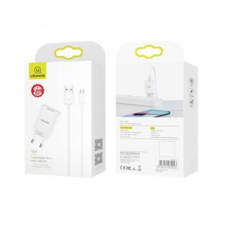 Incarcator reta USAMS T21, cablu microUSB inclus, 2.1A, Alb