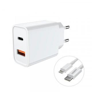 Incarcator Retea Cu USB Si USB Type C 18W Cu Cablu Lightning Inclus Alb
